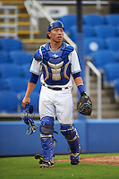 Dunedin Blue Jays catcher Derrick Chung (11) during the first game of a doubleheader against the Palm Beach Cardinals on July 31, 2015 at Florida Auto Exchange Stadium in Dunedin, Florida.  Dunedin defeated Palm Beach 7-0.  (Mike Janes/Four Seam Images)