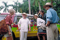Jurassic Park (1993)<br /> Laura Dern as Dr. Ellie Sattler, Richard Attenborough as John Hammond, Martin Ferrero as Gennaro, Jeff Goldblum as Dr. Ian Malcolm and Sam Neill as Dr. Alan Grant<br /> *Filmstill - Editorial Use Only*<br /> CAP/KFS<br /> Image supplied by Capital Pictures