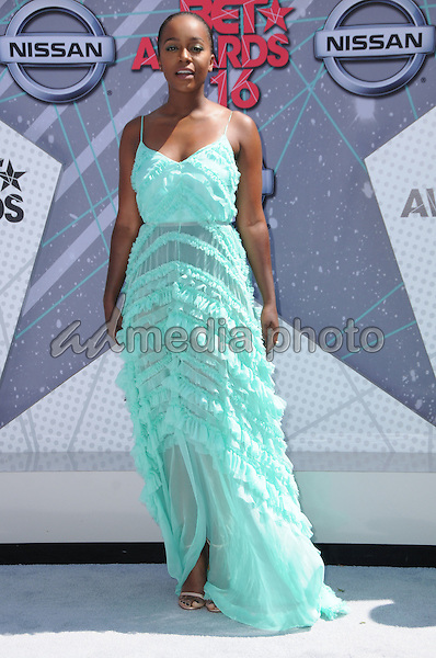 26 June 2016 - Los Angeles. Aja Naomi King. Arrivals for the 2016 BET Awards held at the Microsoft Theater. Photo Credit: Birdie Thompson/AdMedia