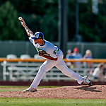 3 September 2018: Vermont Lake Monsters pitcher Jaimito Lebron on the mound in the 9th inning against the Tri-City ValleyCats at Centennial Field in Burlington, Vermont. The Lake Monsters defeated the ValleyCats 9-6 in the last game of the 2018 NY Penn League regular season. Mandatory Credit: Ed Wolfstein Photo *** RAW (NEF) Image File Available ***