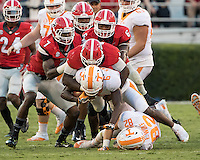 Athens, GA - October 1, 2016: The Georgia Bulldogs vs the Tennessee Volunteers at Sanford Stadium.  Final score Tennessee 34, Georgia 31.