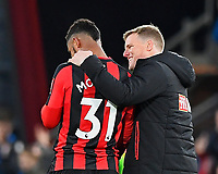 AFC Bournemouth Manager Eddie Howe right hugs winning goal scorer Lys Mousset of AFC Bournemouth during AFC Bournemouth vs Stoke City, Premier League Football at the Vitality Stadium on 3rd February 2018