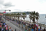 The peleton ride along the coastline during Stage 8 of the 2018 Giro d'Italia, a flat stage running 209km from Praia a Mare to Montevergine di Mercogliano, Italy. 12th May 2018.<br /> Picture: LaPresse/Fabio Ferrari | Cyclefile<br /> <br /> <br /> All photos usage must carry mandatory copyright credit (&copy; Cyclefile | LaPresse/Fabio Ferrari)