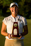 STILLWATER, OK - MAY 21: Jennifer Kupcho of Wake Forest poses with her trophy for winning the Division I Women's Golf Individual Championship held at the Karsten Creek Golf Club on May 21, 2018 in Stillwater, Oklahoma. (Photo by Shane Bevel/NCAA Photos via Getty Images)
