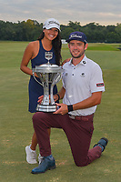 Lanto Griffin (USA) and his girlfriend, Maya Brown, hold the trophy for winning the 2019 Houston Open, Golf Club of Houston, Houston, Texas, USA. 10/13/2019.<br /> Picture Ken Murray / Golffile.ie<br /> <br /> All photo usage must carry mandatory copyright credit (© Golffile | Ken Murray)