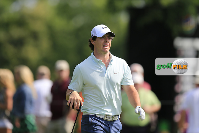 Rory McIlroy (NIR) walks off the 14th tee during Friday's Round 1 of the 2013 Bridgestone Invitational WGC tournament held at the Firestone Country Club, Akron, Ohio. 2nd August 2013.<br /> Picture: Eoin Clarke www.golffile.ie