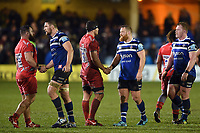 Players shake hands after the final whistle. Gallagher Premiership match, between Bath Rugby and Sale Sharks on December 2, 2018 at the Recreation Ground in Bath, England. Photo by: Patrick Khachfe / Onside Images