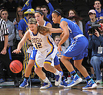 SIOUX FALLS, SD - MARCH 5:  Macy Miller #12 of South Dakota State and De'Jour Young #13 of Fort Wayne go for the ball in the 2016 Summit League Tournament. (Photo by Dick Carlson/Inertia)