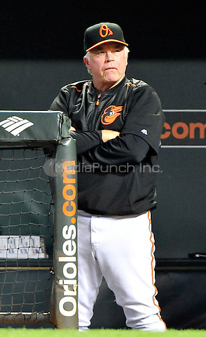 Baltimore Orioles manager Buck Showalter (26) watches his team bat in the third inning against the Houston Astros at Oriole Park at Camden Yards in Baltimore, MD on Friday, August 19, 2016.  The Astros won the game 15 - 8.<br /> Credit: Ron Sachs / CNP/MediaPunch