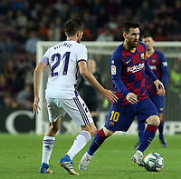 29th October 2019; Camp Nou, Barcelona, Catalonia, Spain; La Liga Football, Barcelona versus Real Valladolid; Leo Messi cuts across the challenge from Michel of Valladolid