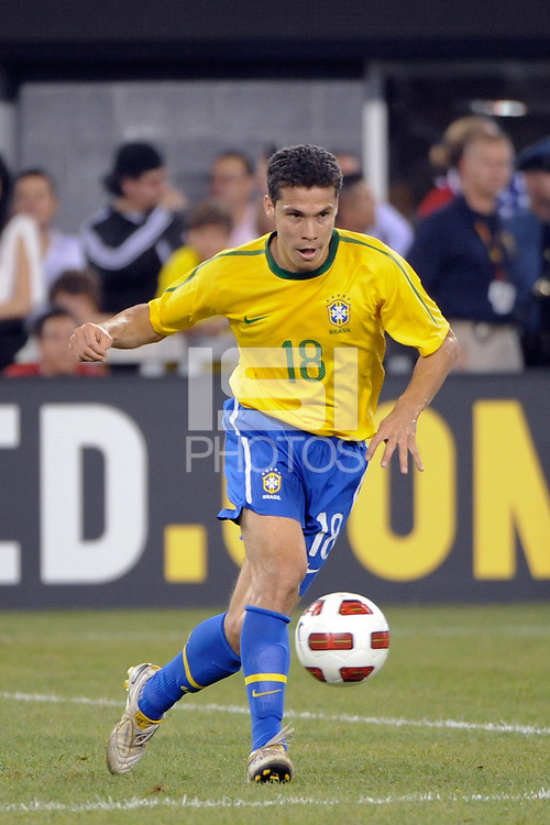 Hernanes (18) of Brazil. The men's national team of Brazil (BRA) defeated the United States (USA) 2-0 during an international friendly at the New Meadowlands Stadium in East Rutherford, NJ, on August 10, 2010.