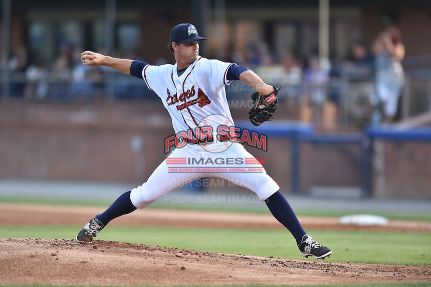 Rome Braves pitcher Caleb Beech (40) delivers a pitch during the South Atlantic League All Star Game on June 23, 2015 in Asheville, North Carolina. The North Division defeated the South 7-5(Tony Farlow/Four Seam Images)