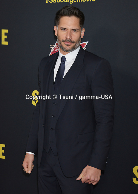 Joe Manganiello at the Sabotage Premiere at the Regal Theatre In Los Angeles.