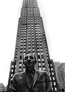 March, 1965. Empire State Building. Manhattan, NYC. Charles Aznavour visits New York City to promote his film Taxi For Torburk.