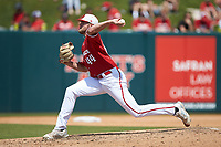 North Carolina State Wolfpack relief pitcher Kent Klyman (44) in action against the Army Black Knights at Doak Field at Dail Park on June 3, 2018 in Raleigh, North Carolina. The Wolfpack defeated the Black Knights 11-1. (Brian Westerholt/Four Seam Images)