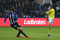 Blackburn Rovers' Danny Graham sees his shot bounce back off Sheffield Wednesday's Rolando Aarons<br /> <br /> Photographer David Shipman/CameraSport<br /> <br /> The EFL Sky Bet Championship - Sheffield Wednesday v Blackburn Rovers - Saturday 16th March 2019 - Hillsborough - Sheffield<br /> <br /> World Copyright &copy; 2019 CameraSport. All rights reserved. 43 Linden Ave. Countesthorpe. Leicester. England. LE8 5PG - Tel: +44 (0) 116 277 4147 - admin@camerasport.com - www.camerasport.com