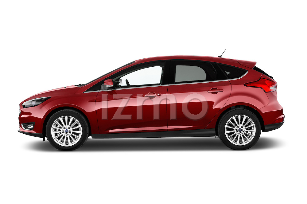 Car Driver side profile view of a 2015 Ford Focus Titanium 5 Door Hatchback Side View