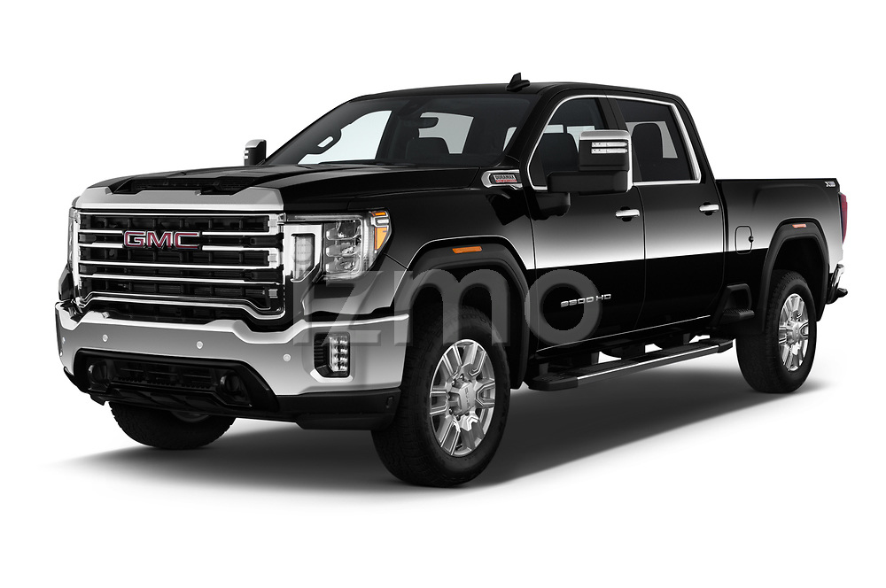 2020 GMC Sierra-2500-HD SLT 4 Door Pick-up Angular Front automotive stock photos of front three quarter view
