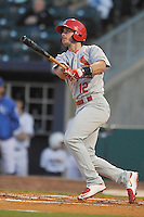Springfield Cardinals Paul DeJong (12) swings during the game against the Northwest Arkansas Naturals at Arvest Ballpark on May 3, 2016 in Springdale, Arkansas.  Springfield won 5-1.  (Dennis Hubbard/Four Seam Images)