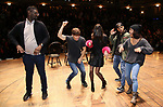 "Carvens Lissaint, Thayne Jasperson, Sabrina Imamura, Terrance Spencer and Sasha Hollinger during The Rockefeller Foundation and The Gilder Lehrman Institute of American History sponsored High School student #eduHam matinee performance of ""Hamilton"" Q & A at the Richard Rodgers Theatre on December 5,, 2018 in New York City."