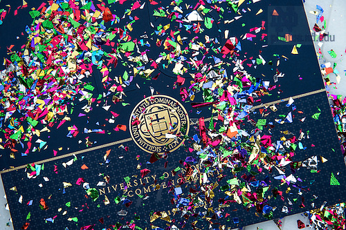 May 17, 2015; Confetti covers a program after the conclusion of the 2015 Commencement ceremony. (Photo by Matt Cashore/University of Notre Dame)