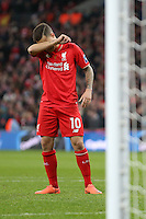 Philippe Coutinho of Liverpool looks dejected after mising a penalty in a shoot out during the Capital One Cup match between Liverpool and Manchester City at Wembley Stadium, London, England on 28 February 2016. Photo by David Horn / PRiME Media Images.