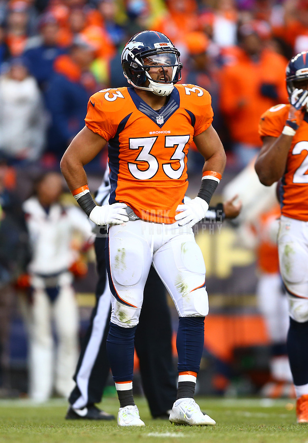 Jan 24, 2016; Denver, CO, USA; Denver Broncos safety Shiloh Keo (33) against the New England Patriots in the AFC Championship football game at Sports Authority Field at Mile High. The Broncos defeated the Patriots 20-18 to advance to the Super Bowl. Mandatory Credit: Mark J. Rebilas-USA TODAY Sports