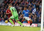 23.08.18 Rangers v Ufa: Alfredo Morelos puts pressure on the keeper