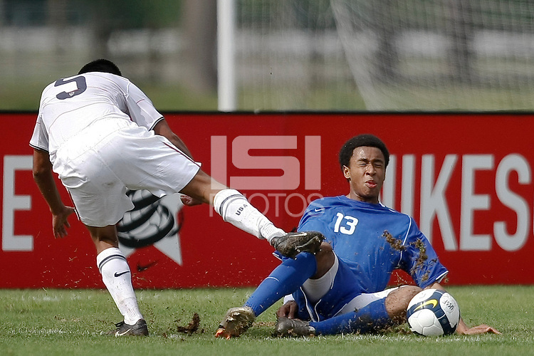 Jonathan Canales (5) of the USA is defended by Brian Span (13) of the Academy Select Team. The US U-17 Men's National Team defeated the Development Academy Select Team 3-1 during day one of the US Soccer Development Academy  Spring Showcase in Sarasota, FL, on May 22, 2009.