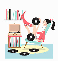 Woman with feet up listening to record player