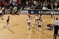 3 December 2005: Kristin Richards, Katie Goldhahn, Njideka Nnamani, and Erin Waller and Foluke Akinradewo during Stanford's 3-1 loss to Santa Clara University at Maples Pavilion in Stanford, CA.