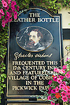 The Leather Bottle Cobham Kent. UK. Pub sign. Charles Dickens faded weather beaten oil portrait. Charles Dickens used this public house.