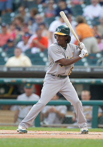 July 19, 2011:  Oakland Athletics second baseman Jemile Weeks (#19) at bat during MLB game action between the Oakland Athletics and the Detroit Tigers at Comerica Park in Detroit, Michigan.  The Tigers defeated the Athletics 8-3.