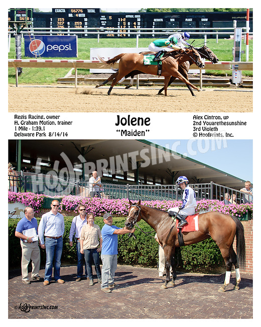 Jolene winning at Delaware Park on 8/14/14