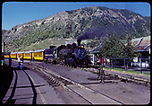 D&amp;RGW #497 K-37 with excursion train to Silverton at Durango station. (Station to left &amp; McDonalds to right)<br /> D&amp;S  Durango, CO