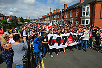 Lincoln City fans arrive at the ground after taking part in a march to celebrate the clubs return to the Football League<br /> <br /> Photographer Chris Vaughan/CameraSport<br /> <br /> The EFL Sky Bet League Two - Lincoln City v Morecambe - Saturday August 12th 2017 - Sincil Bank - Lincoln<br /> <br /> World Copyright &copy; 2017 CameraSport. All rights reserved. 43 Linden Ave. Countesthorpe. Leicester. England. LE8 5PG - Tel: +44 (0) 116 277 4147 - admin@camerasport.com - www.camerasport.com