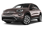 Stock pictures of low aggressive front three quarter view of 2016 Fiat 500X Trekking-Plus-4WD 5 Door SUV Low Aggressive