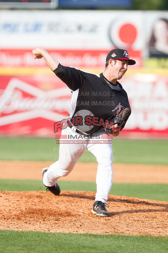 Hickory Crawdads relief pitcher Paul Schwendel (31) in action against the Charleston RiverDogs at L.P. Frans Stadium on May 25, 2014 in Hickory, North Carolina.  The RiverDogs defeated the Crawdads 17-10.  (Brian Westerholt/Four Seam Images)