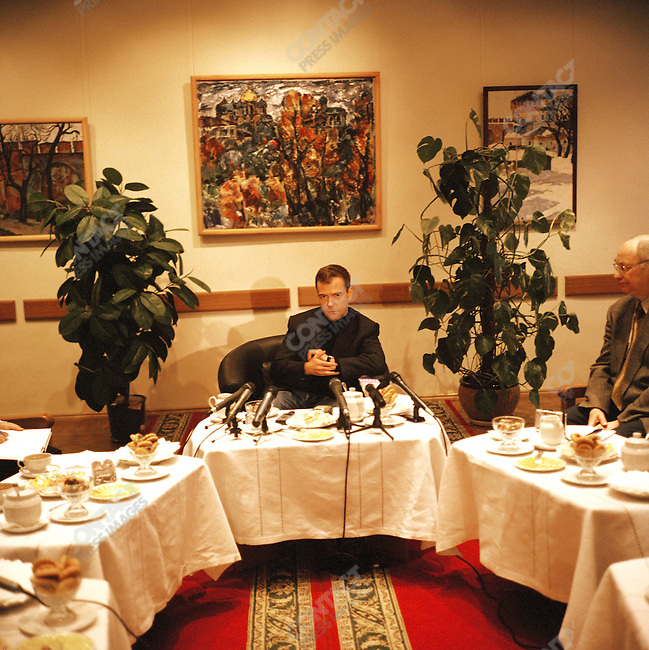 Dmitri Medvedev, First Deputy Prime Minister of Russia,sat with local journalists at a round table discussion with them in the art museum of the regional city of Veliky Novgorod.