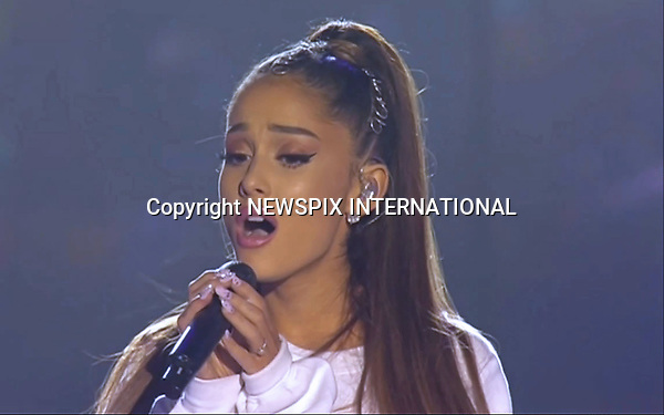 04.06.2017; Manchester, UK: ARIANA GRANDE<br /> performs at the One Love Manchester concert at the Old Trafford in Manchester.<br /> The charity concert which she helped organise was held to help raise money for the We Love Manchester Emergency Fund, for the victims of the terror attack of May 22nd. <br /> Justin Bieber, Coldplay, Miley Cyrus, Katy Perry, Pharrell Williams, Black Eyed Peas, Usher, Take That and Robbie Williams were among those performing. <br /> Mandatory Credit Photo: &copy;NEWSPIX INTERNATIONAL<br /> <br /> Newspix International, 31 Chinnery Hill, Bishop's Stortford, ENGLAND CM23 3PS<br /> Tel:+441279 324672  ; Fax: +441279656877<br /> Mobile:  07775681153<br /> e-mail: info@newspixinternational.co.uk<br /> Please refer to usage terms. All Fees Payable To Newspix International