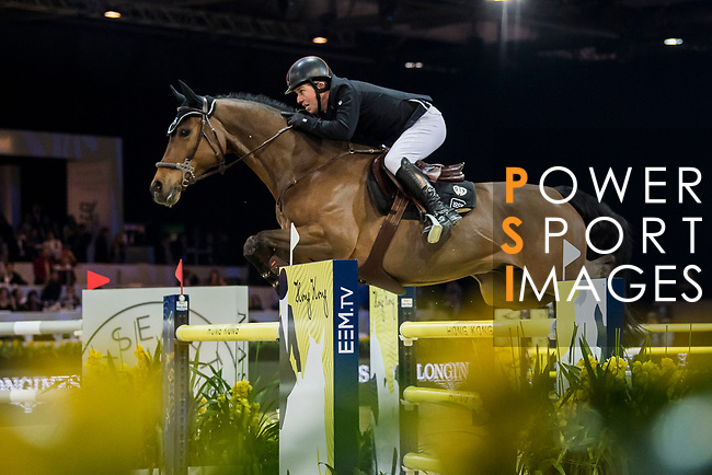 Gerco Schroder of The Netherlands riding Glock's Lausejunge competes in the Longines Grand Prix during the Longines Masters of Hong Kong at AsiaWorld-Expo on 11 February 2018, in Hong Kong, Hong Kong. Photo by Zhenbin Zhong / Power Sport Images