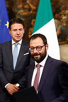 Giuseppe Conte and minister of economic development Stefano Patuanelli<br /> Rome November 26th 2019. Bilateral meeting between the Italian Prime Minister and the Prime Minister of Greece.<br /> Foto Samantha Zucchi Insidefoto