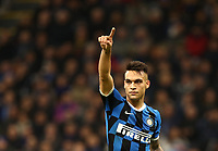 Calcio, Serie A: Inter Milano - Hellas Verona, Giuseppe Meazza stadium, November 9, 2019.<br /> Inter's Lautaro Martinez reacts during the Italian Serie A football match between Inter and Hellas Verona at Giuseppe Meazza (San Siro) stadium, on November 9, 2019.<br /> UPDATE IMAGES PRESS/Isabella Bonotto