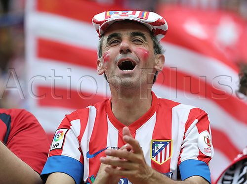 28.05.2016. Milan, Italy.  A supporter of Atletico cheers prior to the UEFA Champions League Final between Real Madrid and Atletico Madrid at the Stadio Giuseppe Meazza in Milan, Italy, 28 May 2016.