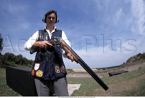 CLAY PIGEON shooting at Bisley, Surrey, 890. Photo: Peter Tarry/Action Plus...1989.clay pigeon shooting.trap .shotgun.shooter.gun.country pursuit