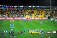 A general view of the Super Rugby match between the Hurricanes and Sharks at Westpac Stadium, Wellington, New Zealand on Saturday, 9 May 2015. Photo: Dave Lintott / lintottphoto.co.nz