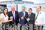 CHEERS: Announcing the returning of the Aer Arann flight from Kerry to Manchester last Thursday were, l-r: Gina Kelly (Communications Manager, Aer Arann), Liam Chute (Vice-Chairman, Kerry Airport), Paul Schutz (CEO, Aer Arann), Basil Sheerin (Kerry Airport), Peter Moore (Kerry Airport).