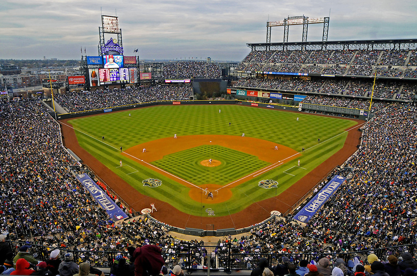 12 October 2009: A general view of Coors Field filled nearly to capacity with 49,940 fans during a National League Division Series game between the Philadelphia Phillies and the Colorado Rockies at Coors Field in Denver, Colorado. The Phillies beat the Rockies 5-4 and won the series 3-1. *****For editorial use only*****