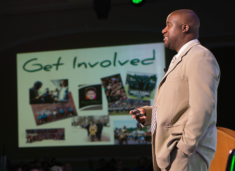 Jamie Patton, Ed. D, Assistant Dean of Students, urges new students to get involved at Ohio University during Bobcat Student Orientation on June 15, 2016. © Ohio University / Photo by Kaitlin Owens