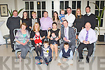 Paula and Jonathan O'Regan celebrate the christening of their son Adam in the Killarney Heights Hotel on Saturday night front row l-r: Patrick Crehan, Darragh Crehan, Betty O'Leary, Gillian and Tommy Curran, Paula, Jonathon and baby Adam O'Regan, Frank Thornton. Back row: Peter O'Leary, Kelly Thornton, Carol Thornton, Harold Curran, Orla O'Leary, Jack and Pat O'Leary, Lisa O'Leary and James Daly..